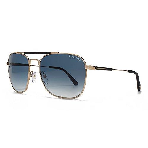 Tom Ford Men'S Edward Square Aviator Sunglasses In Shiny Rose Gold Blue Gradient Ft0377 28W 58