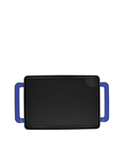 Chasseur Large Rectangular Cast Iron Grill Pan with Handles, French Blue