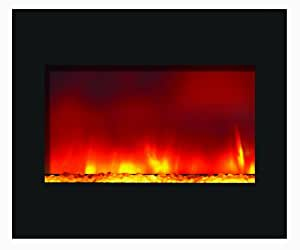 Zero Clearance Flush Mount Led Fire Effect Electric Fireplace W 32 Wide Black Glass Frame