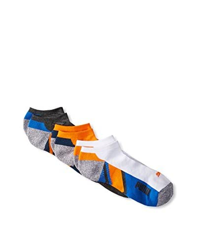 PUMA Men's P102758ZZ810 3 Pack All Sport No Shows, Charcoal/Orange/White, One Size