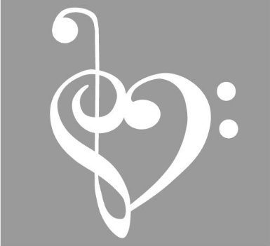 TREBLE AND BASS CLEF HEART 4