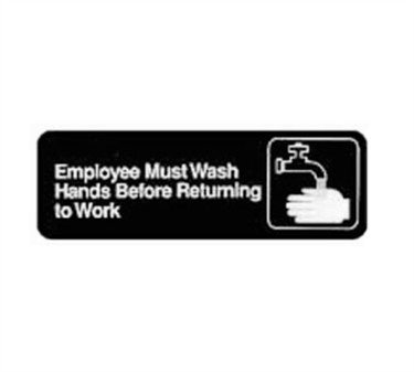Winco SGN-322 Sign, 3-Inch by 9-Inch, Employee Must Wash Hand