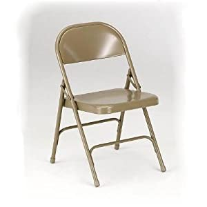 300 Series Steel Folding Chair with Two Double-Riveted Cross Braces Finish: Beige by KI