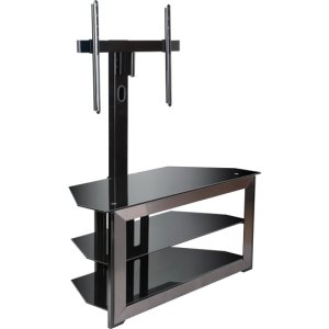 Cheap Bell'O Triple Play NTPC2132G A/V Equipment Stand. UNIVERSAL MOUNTING TV STAND GUN METAL FINISH FRONT FRAME THFURN. Up to 55′ Screen Support – 125 lb Load Capacity – 3 x Shelf(ves) – 56.5′ Height x 52′ Width x 22.5′ Depth – Glass, Steel – Black (ITE-GE6198-INGM|1)