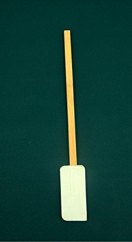 KSC-Narrow Rubber Jar Scraper Spatula-Bamboo Handle-9 3/4