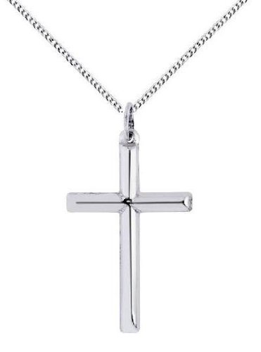 .925 Sterling Silver Mens Large Tubular Cross Charm Necklace 24