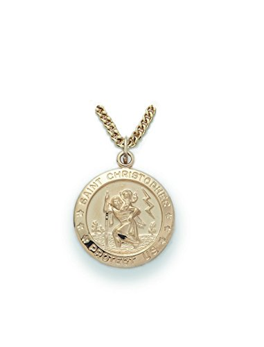 14K Gold over Sterling Silver Saint Christopher the Christ Bearer Medal, 3/4 Inch (St Christopher Medal Gold compare prices)