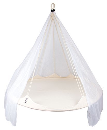 Deluxe TiiPii Bed White Floating Cocoon with Mosquito Net - Luxurious Hangout Space for Friends & Family in your Home or Garden by Skycarte
