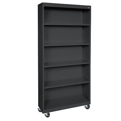 "Sandusky Lee BM40361872-09 Black Steel Mobile Bookcase, 4 Adjustable Shelves, 200 lb. Per Shelf Capacity, 78"" Height x 36"" Width x 18"" Depth"