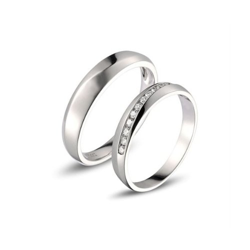... Affordable Diamond Couple Wedding Bands for Him and Her on White Gold