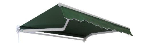 Primrose 3.5m x 2.5m Manual Half Cassette Garden Awning (Plain Green) - Complete with Fixings and Winder Handle