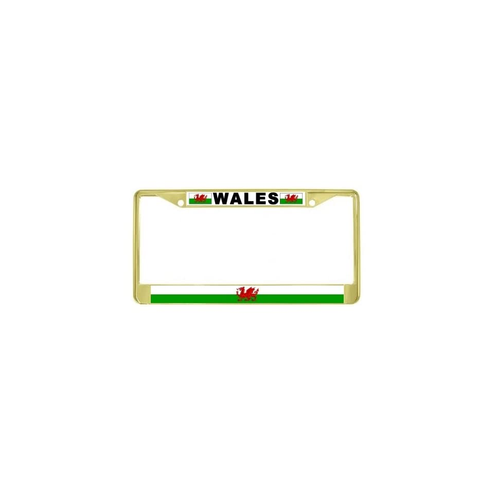 WALES FLAG RED DRAGON WELSH COUNTRY License Plate Frame Stainless