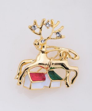 Gold Christmas Rudolph Reindeer Pin Brooch