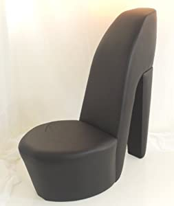 black faux leather shoe high heel stiletto chair
