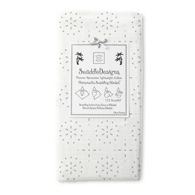 Swaddledesigns - Mariquisette Swaddling Blanket - Sterling Sparklers On White front-849178