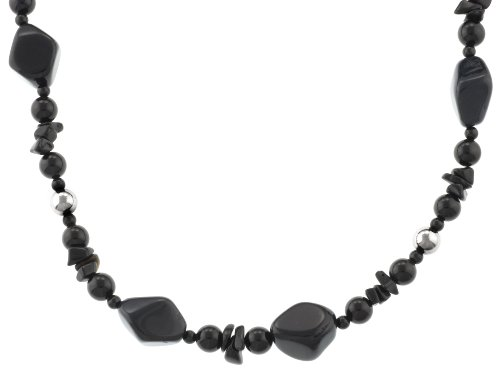 Sterling Silver and Onyx Beaded Necklace, 35
