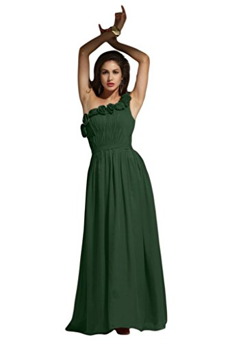 Vienna Bride New Flowers One Shoulder Drapped Bridesmaid Evening Prom Dress Long-10-Dark Green