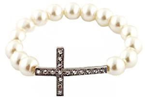 3 Pieces of Ivory with Silver Iced Out Cross Pearl Style Shamballah Beaded Stretch Bracelet