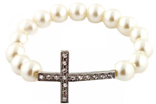 3 Pieces of Ivory  Silver Iced Out Cross Pearl