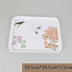 New European style rectangular glass tray tea tray melamine fruit bowl creative plastic non-slip thickening minimalist modern hotel Red