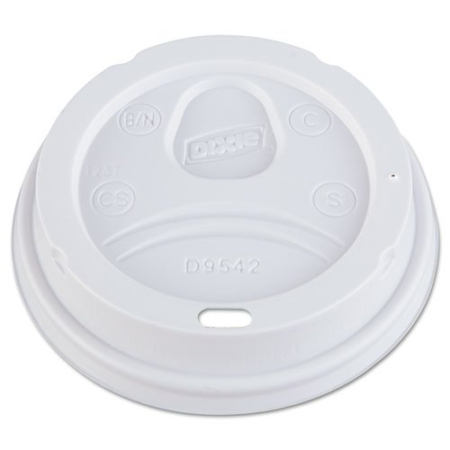Dixie Dome Drink-Thru Lids, Fits 12 oz. & 16 oz. Paper Hot Cups, White - Includes ten packs of 100 each.