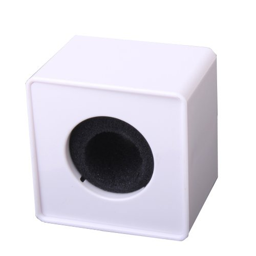 1Pc White Abs Mic Microphone Interview Square Cube Logo Flag Station 39Mm Hole