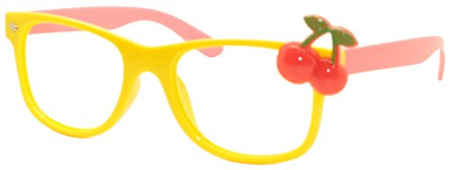 FancyG® Cute Kids Warfarer Red Cherry Glass Frame Kid Size NO LENS - Yellow Pink