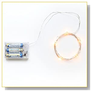 Rtgs Micro LED 20 Warm White Color Lights Battery Operated on 7ft Long Silver Color Ultra Thin String Wire