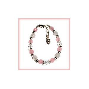 Newborn Baby Gift, Pink/White Jade w/crystal Sterling Silver Infant Baby Bracelet 0-12 months beautiful pink and white beads, and lead-free crystals