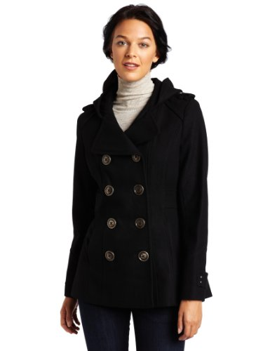 31Rp0nuuUIL Miss Sixty Womens Double Breasted Hooded Peacoat
