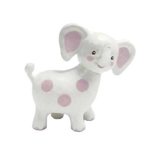Bunnies By The Bay Peanut Elephant Teether, White with Pink Polka Dots
