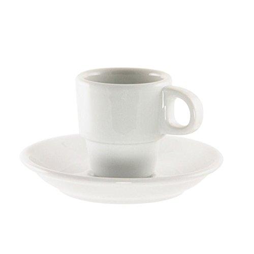 10 Strawberry Street BISTRO-96 Bistro Demi Cup/Saucer, Set of 6, White