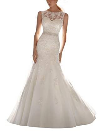 Femicuty Latest Sleeveless Lace Appliques Bridal Dress