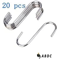 OPCC 20 PCS Stainless Steel Silver Color Extra Small Size Heavy-duty Steel S-hooks For Plants, Gardening Tools...