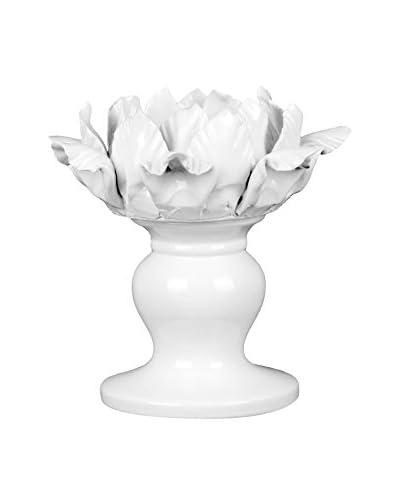Privilege International Ceramic White Flower Candle Holder
