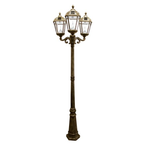 Gama Sonic Royal Solar Lamp Post And Triple Lamp Led Light Fixture, 89-Inch Height, Weathered Bronze Finish #Gs-98T