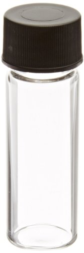 JG Finneran 84020-1545 Borosilicate Glass Dram Sample Vial with Solid Top Cap and PTFE/F217 Septa, Clear, 1 Dram Capacity, 15mm Diameter x 45mm Height (Case of 100) (Glass Vials 1 Dram compare prices)