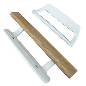 Sliding Glass Patio Door Handle Inside Wood/Outside White, Replacement, PD1000WHITE
