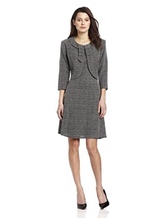 Danny & Nicole Women's Petite Tweed Jacket Dress, Black/White, 8 Petite