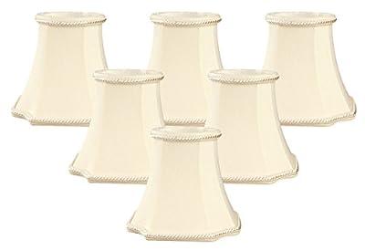 "Royal Designs 5"" Decorative Trim Bell Inverted Corner Chandelier Lamp Shade, Eggshell, Set of 6, 3 x 5 x 4.5 (CS-714EG-6)"
