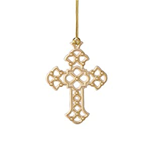 #!Cheap Lenox Florentine and Pearl Cross, Christmas Ornament