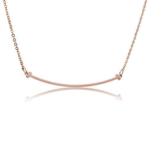 AOLOSHOW relazione dell'amicizia, in acciaio inossidabile, collana e orecchini, Acciaio inossidabile, colore: Curved Bar Necklace - Rose Gold, cod. WNL-2626 Rose Gold-RS