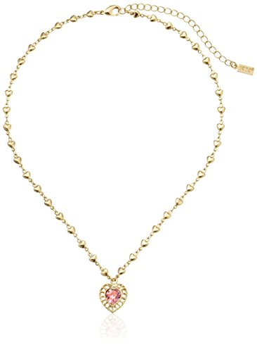 1928 Jewelry Gold-Tone Pink Genuine Swarovski Crystal Heart Pendant Necklace, 18""