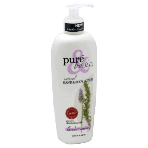 Pure and Basic Natural Bath and Body Lotion, Lavender Rosemary, 12 Fluid Ounce Basic Natural Bath