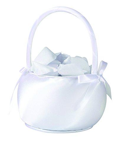 Lillian Rose Satin Flower Basket, 7-Inch, White