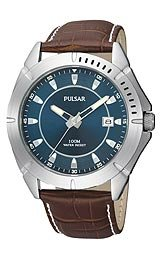 Pulsar Men's PXH715 Sport Brown Leather Strap Blue Dial Watch