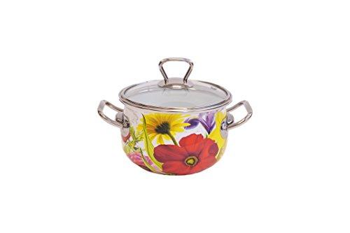 Europeware K15025/14 1.4 quart Decorative Enamel Casserole Pan, Small, White (Small Casserole Pan compare prices)