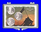 """3″ x 2″ Snaplock Coin Holder with Iwo Jima theme for the 1943 """"P"""", """"D, and """"S"""" mint Lincoln Steel cents. (Including Coins)"""