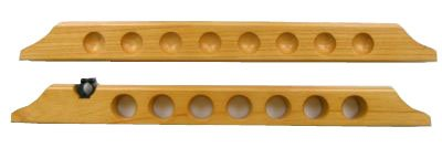 7 Cue 1 Bridge Pool Table Billiard Wall Rack, Oak Finish