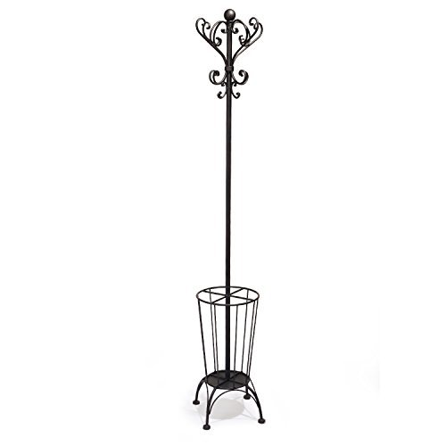 Adeco Iron Coat Hanging Garment Rack with Umbrella Stand and Storage